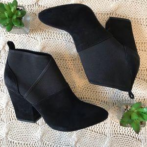 {Calvin Klein} Cross Over Suede Black Heel Booties